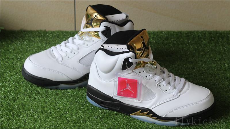 21015ea6602c81 Authentic Air Jordan Retro 5 Olympic The GOLD TONGUE   www.flykickss ...
