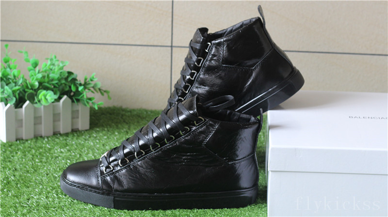 Super Perfect Balenciaga Arena Leather Black High Sneakers