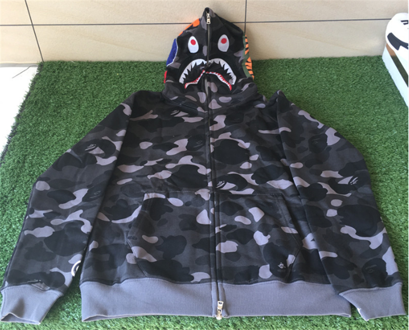 A Bathing Ape Clothing Bape Shark Black Camo Hoodie