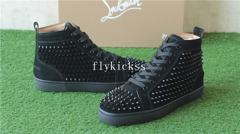 Super High End Christian Louboutin Flat Sneaker High Top Black Suede(With Receipt)