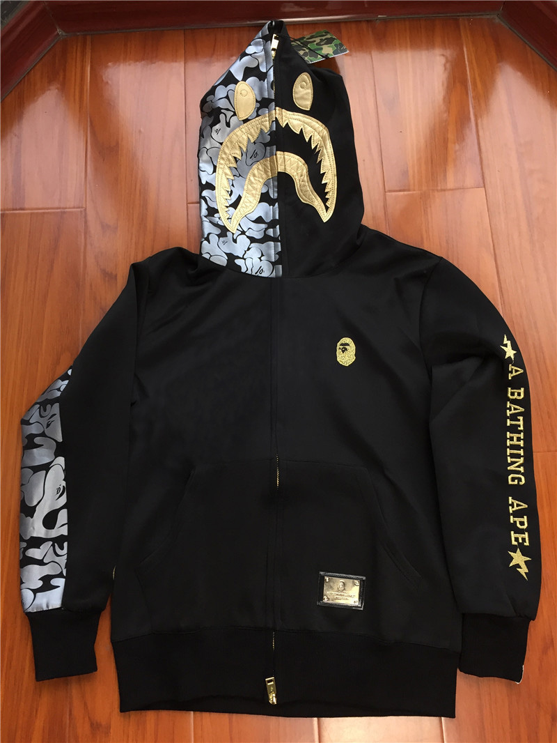 A Bathing Ape Premium BAPE Black Gold Shark Hoodie
