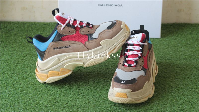 Balenciaga 2017 Fall Winter Triple-S Brown Red Blue