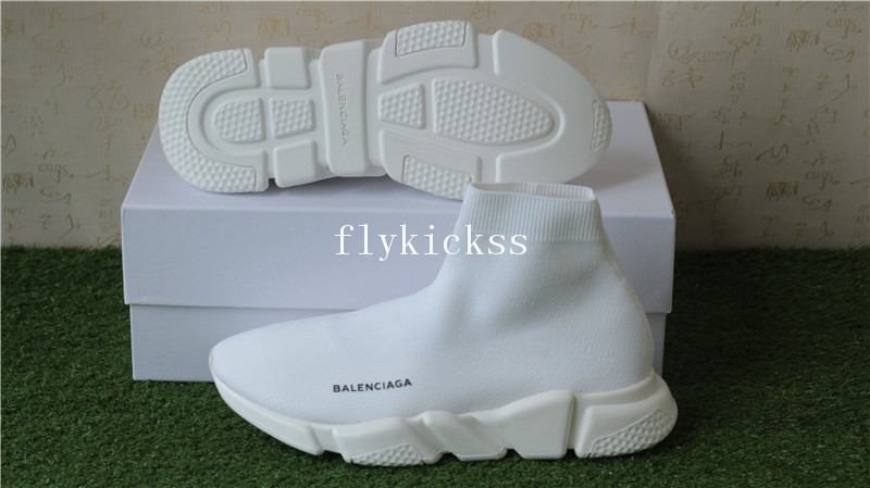 Update Version Balenciaga Speed Trainer Sock Race Runners All White