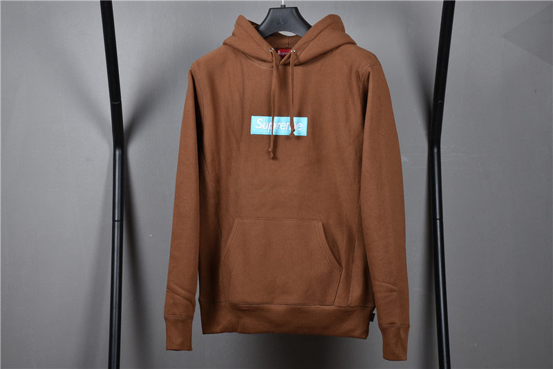 Supreme Brown Hoodie With Light Blue Box Logo