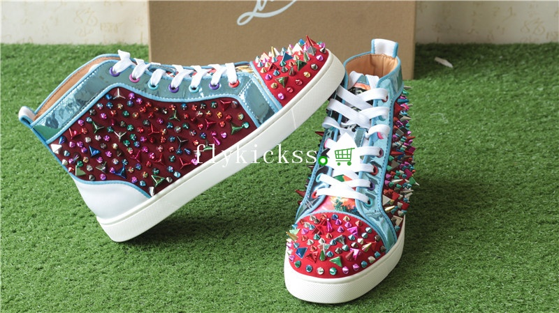 Christian Louboutin Colorful Spike High Top Flat Sneakers