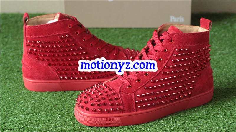 Super High End Christian Louboutin Flat Sneaker High Top Red(With Receipt)