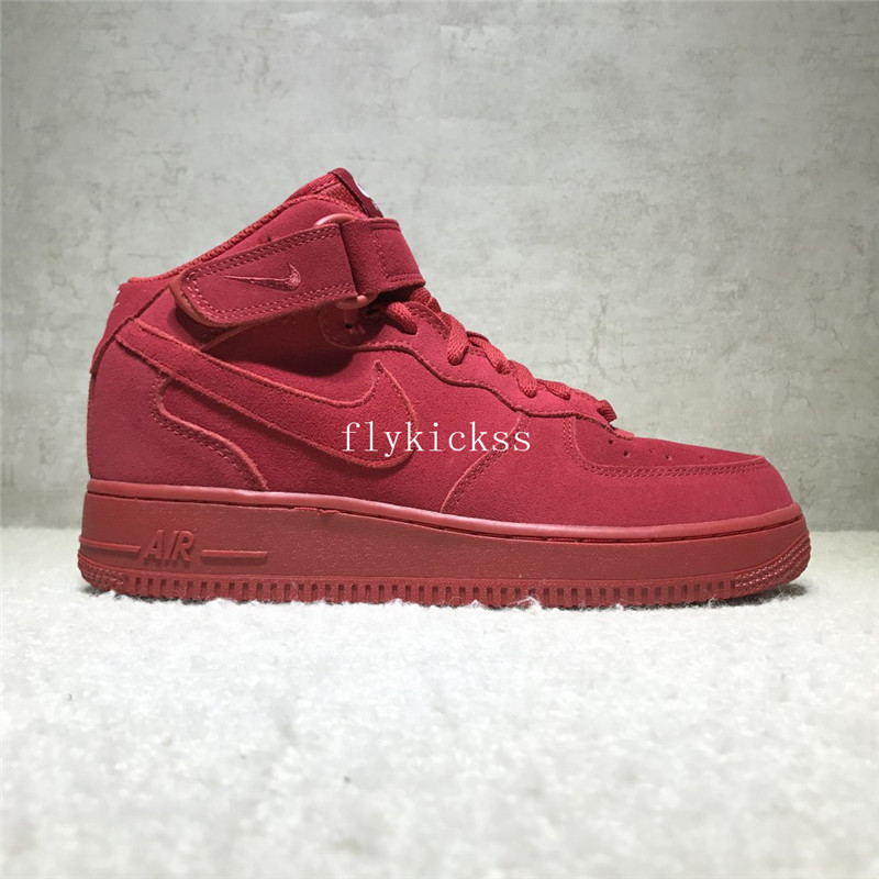 Nike Air Force 1 High Top Mid Gym Red Suede