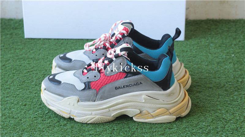 Balenciaga 2017 Fall Winter Washed Old Show Triple-S Grey Red Blue