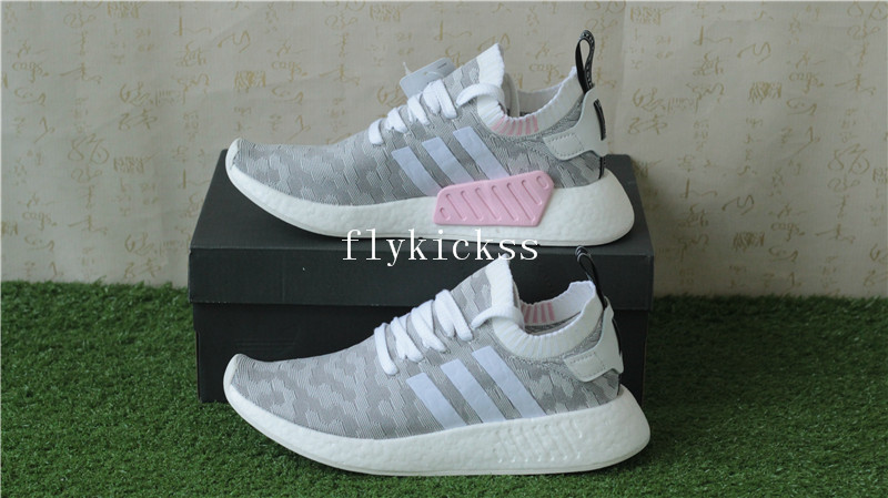 Adidas Nmd R2 Primeknit Grey Pink By9520 Real Boost