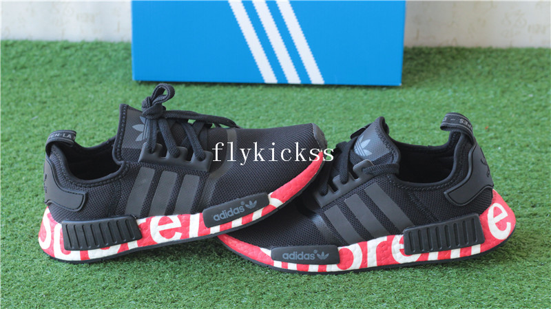 Supreme x Adidas NMD R1 Black Real Boost