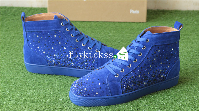 Christian Louboutin Flat Spike Sneaker High Top Blue Suede