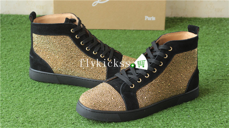 Christian Louboutin Flat Spike Sneaker High Top Golden Diamond